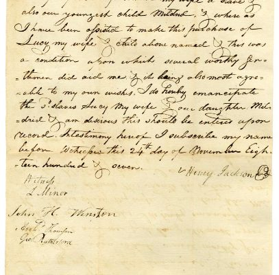 Page 1, Louisa County (Va.) Deed of Manumission, Henry Jackson to Lucy and Matilda, 1807