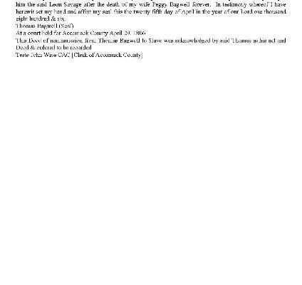 Transcript, Accocmack County (Va.) Deed of Manumission, Thomas Bagwell to Leon Savage, 1806
