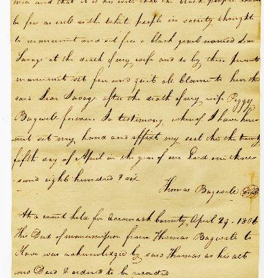 Accocmack County (Va.) Deed of Manumission, Thomas Bagwell to Leon Savage, 1806.