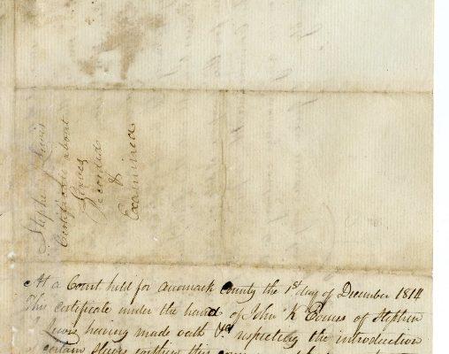 Back, Accomack County (Va.) Certificate of Importation, 1814.