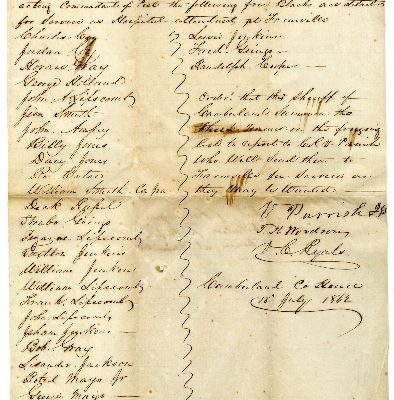 Page 1, Cumberland County (Va.) List of Free Negroes Detailed for Hospital Service at Farmville, 1862