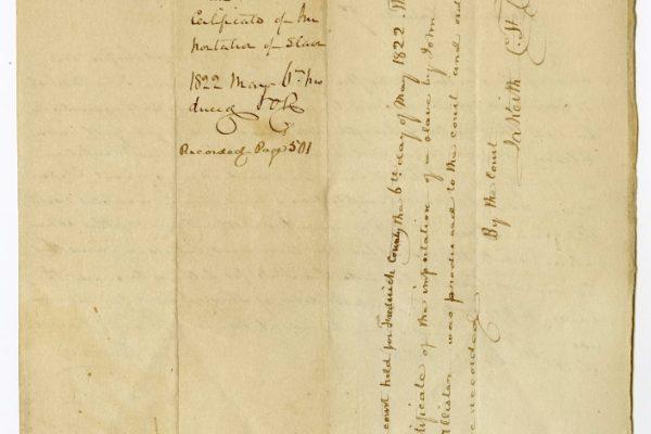 Back, Frederick County (Va.) Certificate of Importation, 1822