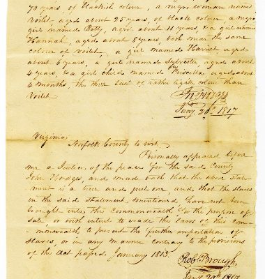 Front, Norfolk County (Va.) Certificate of Importation, 1817