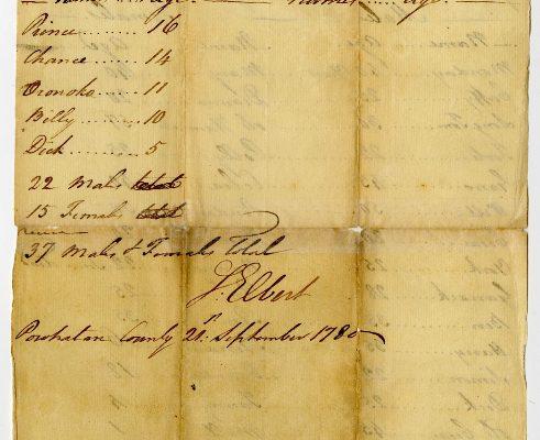 Back, Powhatan County (Va.) Certificate of Importation, 1780. Library of Virginia, Richmond, Virginia.