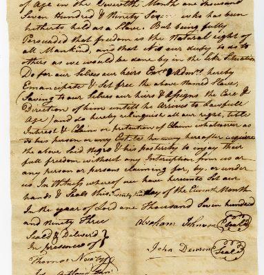 Page 1, Isle of Wight County (Va.) Deed of Emancipation, Abraham Johnson and John Denson to Harry, 1796