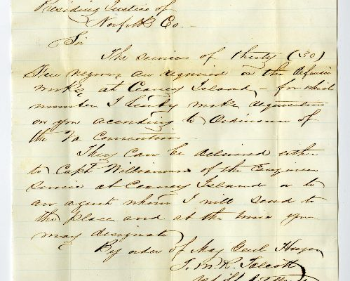 Page 4, Norfolk County (Va.) Requisition of Free Negroes, 1861.