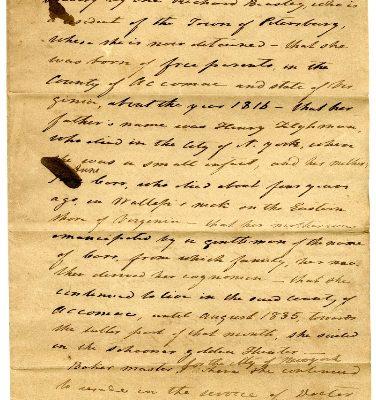 City of Petersburg, Judgments (Freedom Suits), Hester Jane Carr vs. Richard Beasley, 1837.