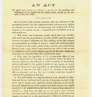 Page 1, Act of Assembly passed 1862 February 12 for the enrollment and employment of free negroes for public service.