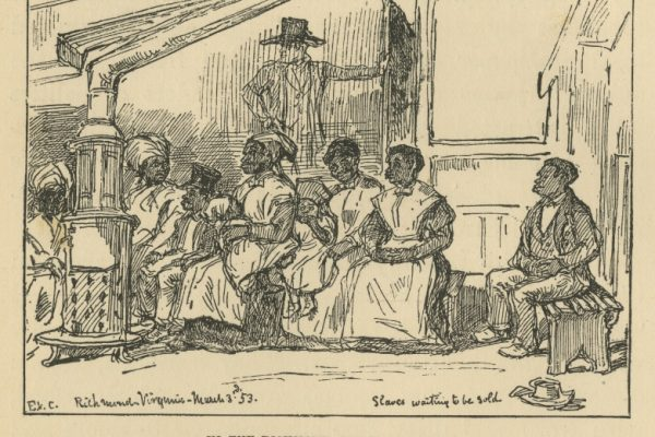 Sketch, In the Richmond Slave Market, Eyre Crowe (1824-1910). From With Thackeray in America, New York: Charles Scribner's Sons, 1893.