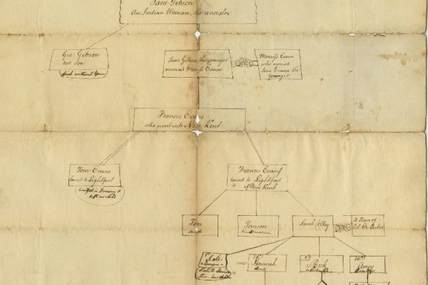Genealogical chart, Lynchburg, Superior Court of Chancery, Charles Evans and others vs. Lewis B. Allen, 1821-033. Local Government Records Collection