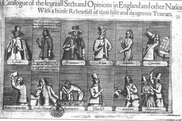 Unknown. A Catalouge of the Severall Sects and Opinions in England and other Nations: With a briefe Rehearsall of their false and dangerous Tenents. Broadsheet, 1647. British Museum.