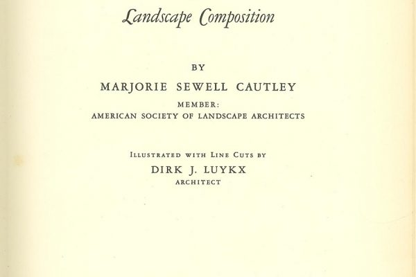 Title Page, Garden Design, by Marjorie Sewell Cautley, New York, 1935.