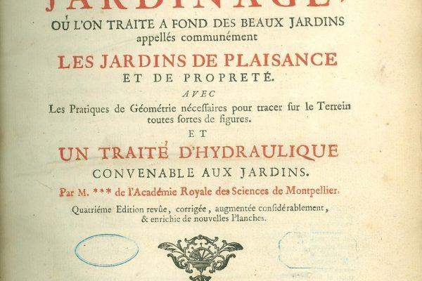 Title Page,  La theorie et la pratique du jardinage, by Antoine-Joseph Dezallier d'Argenville, Paris, 1747.
