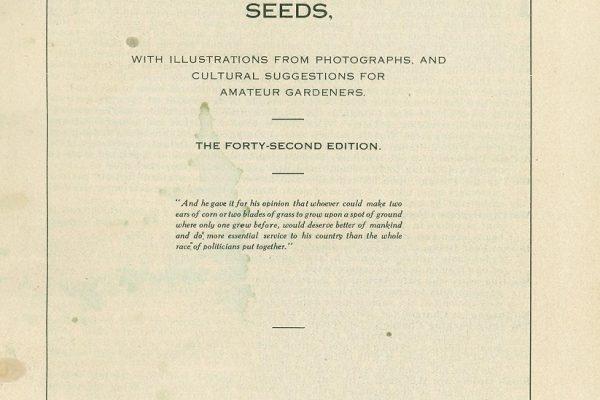 Title page, Thoroughbred Seeds, Geo. Tait & Sons, Norfolk, Va., 1911.