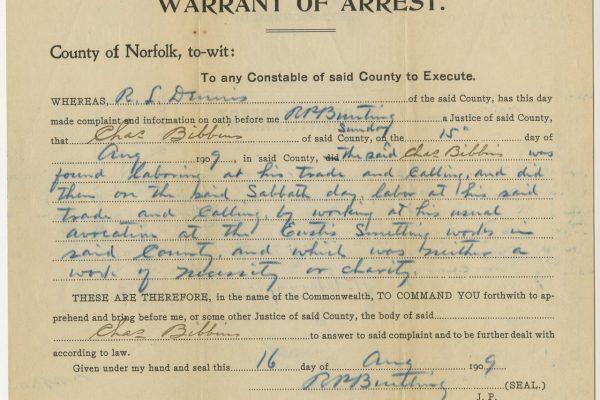 Arrest Warrant, Charles Bibbins, 1909, Commonwealth b. A. Berson, et. als