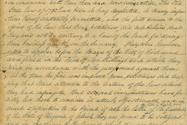 Page 1, Petition of Jacob A. Levy and Jacob Ezekiel, City of Richmond (Va.) 08 May 1846