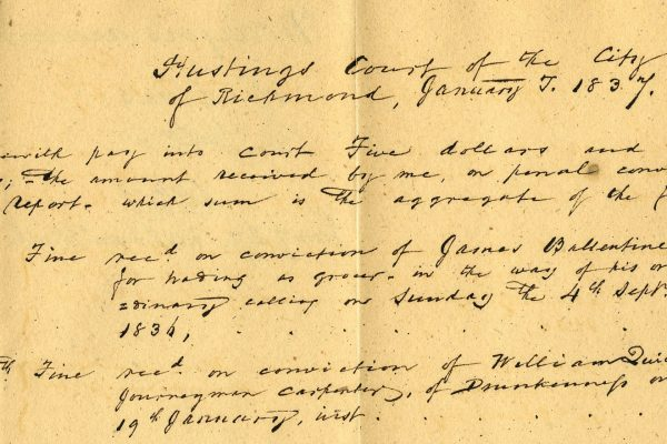 City of Richmond, Hustings Court, List of Mayors Fines, 1837, Local Government Records Collection, Library of Virginia.