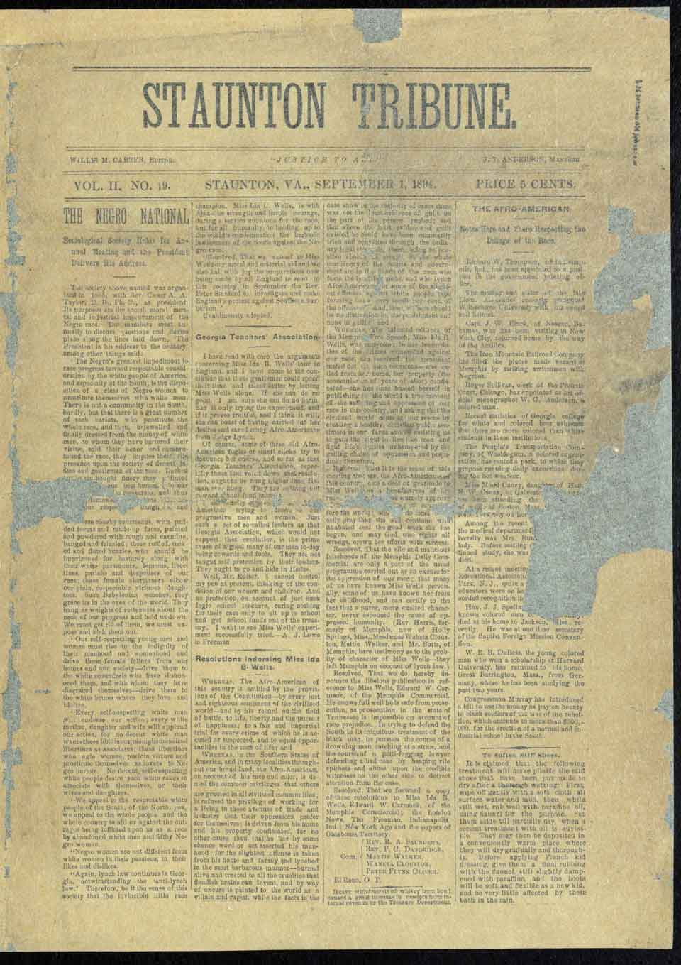 Willis M. Carter Journal and Research Collection Donated to the Library of Virginia