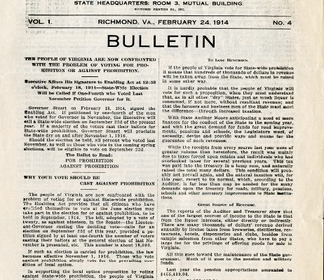 Personal Liberty Association of Virginia Bulletin, Vol 1, No. 4, 24 February 1914