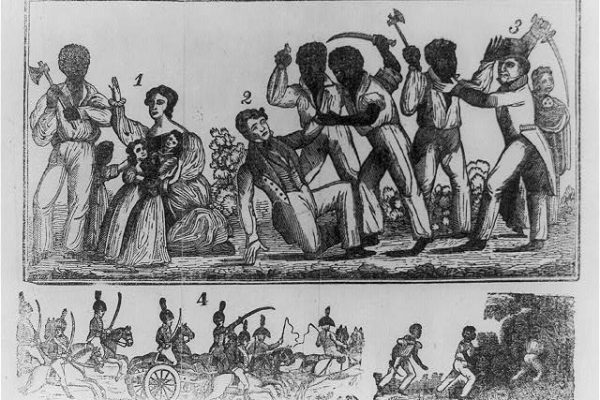 19th Century woodcut depiction of the Southhampton Insurrection from the book, Authentic and Impartial Narrative of the Tragical Scene which was Witnessed in Southampton County.