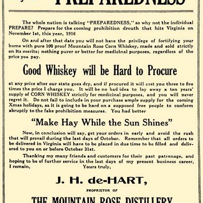 Advertisement for the Mountain Rose Distillery