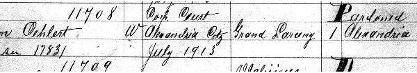 Entry 11708, William Oehlert, Prisoner Register No. 10, 1912-1916 (enlargement, page one).