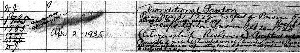 Entry 17831, William Oehlert, Prisoner Register No. 11m 1916- 1922 (enlargement, page two)