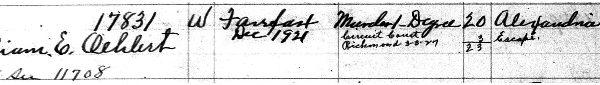 Entry 17831, William Oehlert, Prisoner Register No. 11m 1916- 1922 (enlargement, page one)