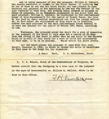 No. 17831, William E. Oehlert, Extradition File, 14 May 1926, Records of the Secretary of the Commonwealth, Executive Papers, Box 727, State Records collection, Library of Virginia (one of three)