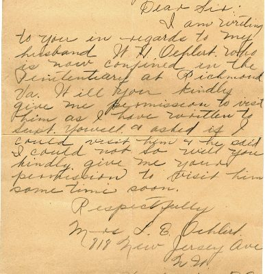 Letter from Mrs. L. E. Oehlert, dated 31 December 1926, to Governor Harry Byrd