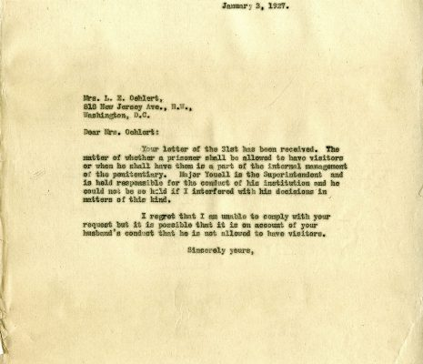 Letter from Governor Harry Byrd, dated 3 January 1927, to Mrs. L. E. Oehlert