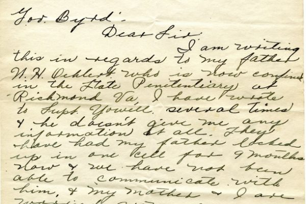 Letter from Marian Oehlert, dated 26 June 1927, to Governor Harry Byrd (page one of two)