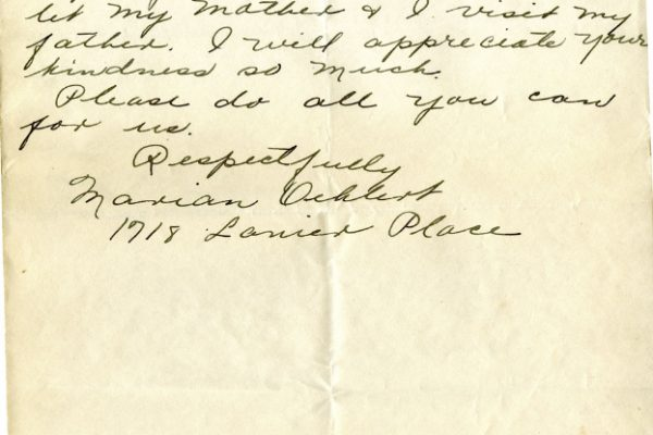 Letter from Marian Oehlert, dated 26 June 1927, to Governor Harry Byrd (page two of two)