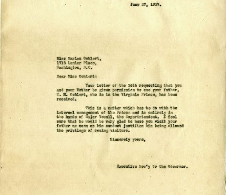 Letter from Executive Secretary to the Governor, dated 27 June 1927, to Marian Oehlert