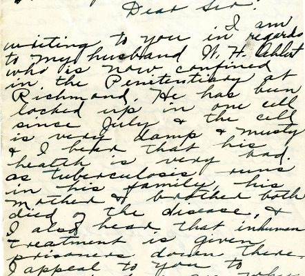Letter from Mrs. L. E. Oehlert, dated 16 October 1928, to  Governor Harry Byrd (page one of two)