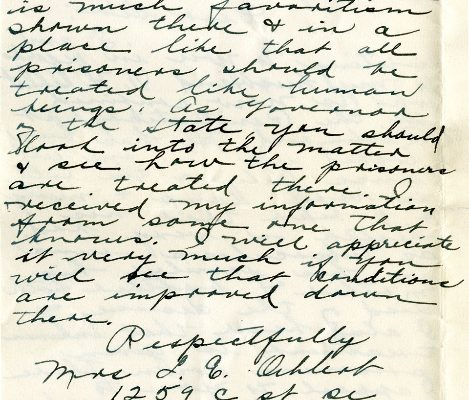 Letter from Mrs. L. E. Oehlert, dated 16 October 1928, to  Governor Harry Byrd (page two of two)