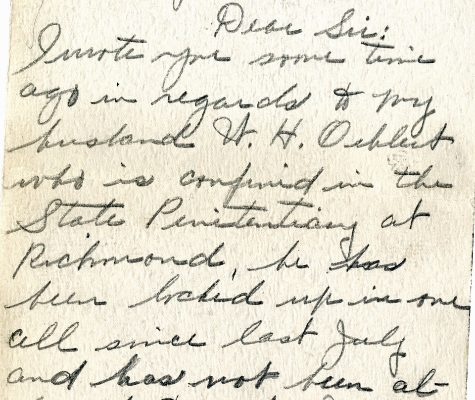 Letter from Mrs. L. E. Oehlert, dated 13 January 1929, to Governor Harry Byrd (page one of two)