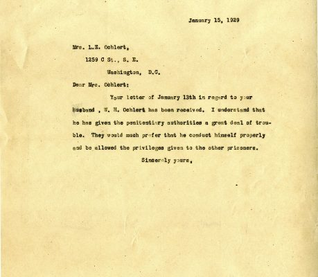 Letter from Governor Harry Byrd, dated 15 January 1929, to Mrs. L. E. Oehlert