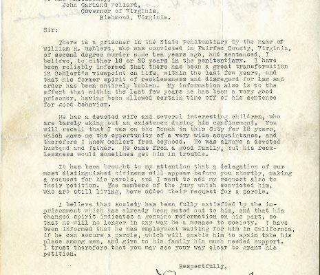 Letter from Judge Louis C. Barley, dated 15 June 1932, to Governor John Garland Pollard