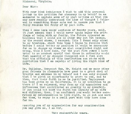 Letter from William Oehlert, dated 3 October 1933, to Governor John Garland Pollard