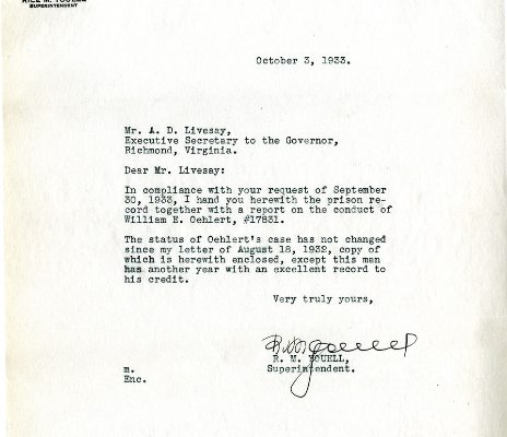 Letter from Superintendent Rice M. Youell, dated 3 October 1933, to A. D. Livesay