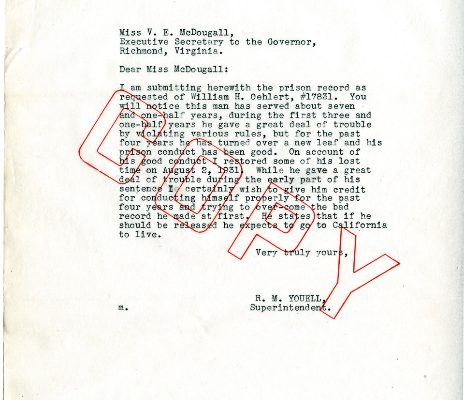 Letter from Superintendent Rice M. Youwell, dated 3 October 1933, to A. D. Livesay (attachment).