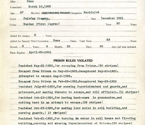 Prison Record of William E. Oehlert, No. 17831, dated 2 October 1933, William E. Oehlert Pardon File, box 989.