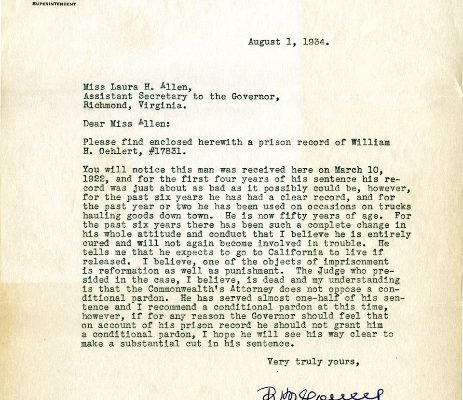 Letter from Superintendent Rice M. Youell, dated 1 August 1934, to Laura H. Allen