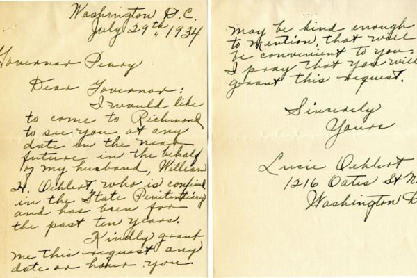 Letter from Lucie Oehlert, dated 29 July 1934, to Governor George Peery