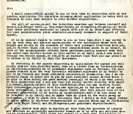 Letter from W. E. Oehlert, dated 13 December 1934, to Governor George C. Peery (page one of two)