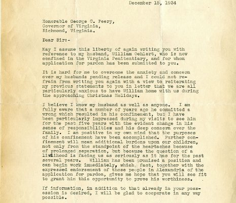 Letter from Lucie Oehlert, dated 15 December 1934, to Governor George Peery