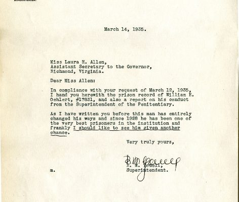 Letter from Superintendent Rice M. Youell, dated 14 March 1935, to Laura H. Allen