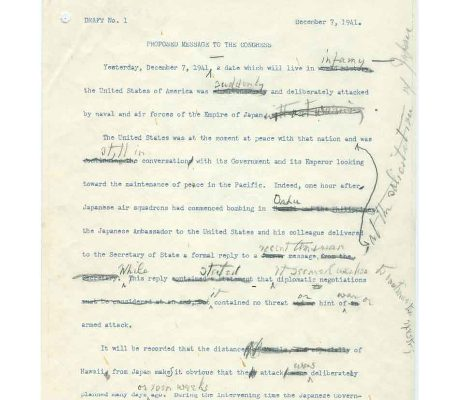 Draft No. 1 of 8 December 1941 War Message to Congress (page one of three)