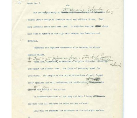 Draft No. 1 of 8 December 1941 War Message to Congress (page two of three)
